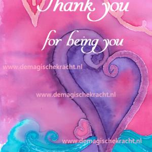bijzondere ansichtkaart Thank you for being you-glans, de magische kracht