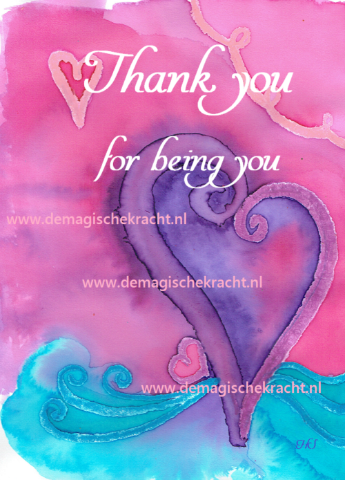 bijzondere ansichtkaart Thank you for being you-glans, de magische kracht